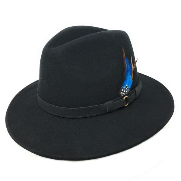 Black Fedora Hat with Leather Band. Showerproof, Wool, Removable Feather - Ranger